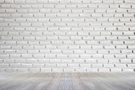 white brick wall and wood floor background 写真素材