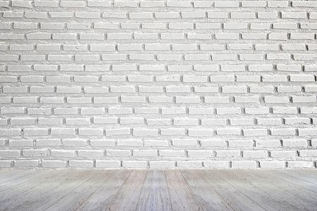 witte bakstenen muur en houten vloer achtergrond