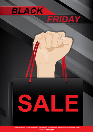 A hand holding shopping bags to promote sales,Black Friday sales