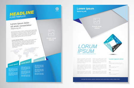business report: Vector Brochure Flyer design Layout template, size A4, Front page and back page, infographics. Easy to use and edit.