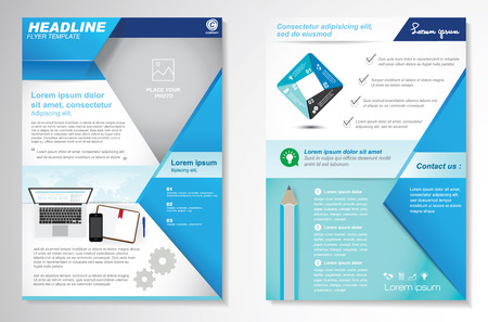 Vector Brochure Flyer design Layout template, size A4, Front page and back page, infographics. Easy to use and edit.