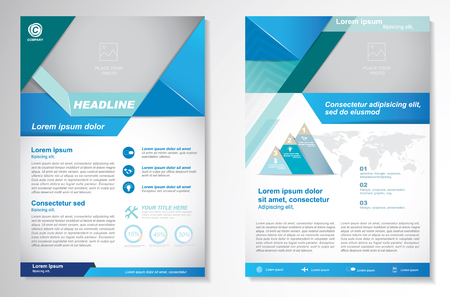 Vector Brochure Flyer ontwerp Layout template, A4, voorpagina en achterpagina, infographics. Gemakkelijk te gebruiken en te bewerken.