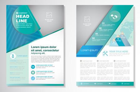 Vector Brochure Flyer modello Layout design, dimensioni A4, prima pagina e pagina indietro, infografica. Facile da usare e modificare. Vettoriali