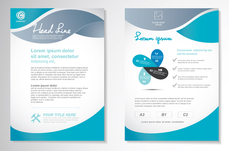 graphic presentation: Vector Brochure Flyer design Layout template, size A4, Front page and back page, infographics. Easy to use and edit.