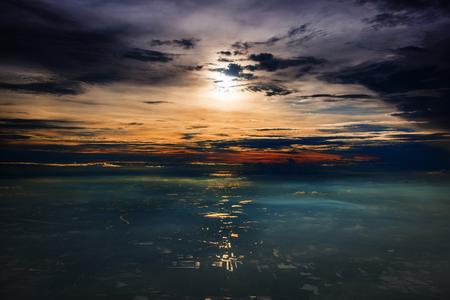 prachtige skyline bij zonsondergang