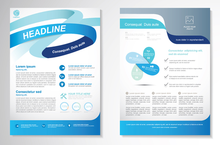 annual: Brochure design Layout template, size A4, Front page and back page, infographics. Easy to use and edit. Illustration