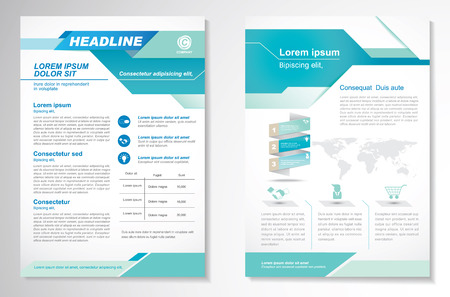 Brochure design Layout template, size A4, Front page and back page, infographics. Easy to use and edit. 版權商用圖片 - 56479230