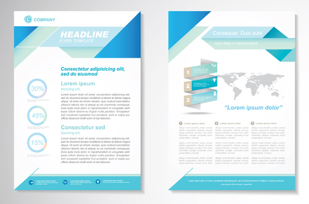 newsletters: Brochure design Layout template, size A4, Front page and back page, infographics. Easy to use and edit. Illustration