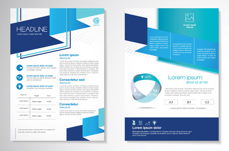 Brochure design Layout template, size A4, Front page and back page, infographics. Easy to use and edit. Vectores