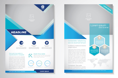 Brochure design Layout template, size A4, Front page and back page, infographics. Easy to use and edit. Иллюстрация