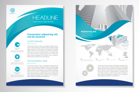 Brochure design Layout template, size A4, Front page and back page, infographics. Easy to use and edit. Illusztráció