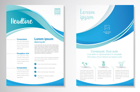Template vector design for Brochure, Annual Report, Magazine, Poster, Corporate Presentation, Portfolio, Flyer, layout with green and blue color size A4, Front and back, Easy to use and edit.
