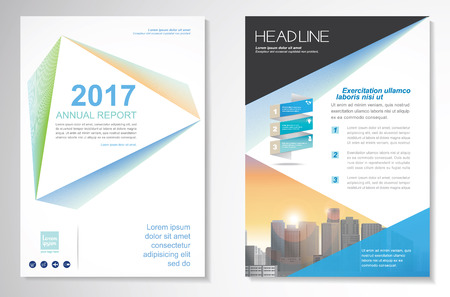concepts and ideas: Template vector design for Brochure, Annual Report, Magazine, Poster, Corporate Presentation, Portfolio, Flyer, layout modern with green and blue color size A4, Front and back, Easy to use and edit. Illustration