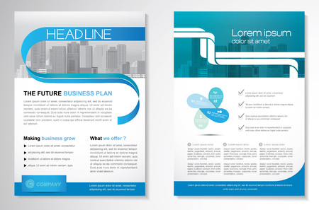 Template vector design for Brochure, Annual Report, Magazine, Poster, Corporate Presentation, Portfolio, Flyer, layout modern with green and blue color size A4, Front and back, Easy to use and edit.  イラスト・ベクター素材