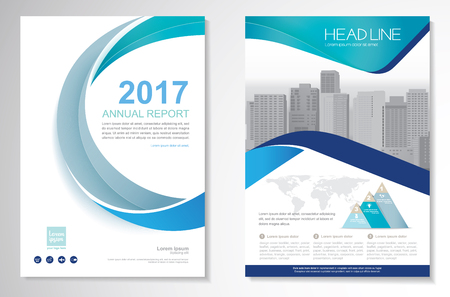 Template vector design for Brochure, Annual Report, Magazine, Poster, Corporate Presentation, Portfolio, Flyer, layout modern with green and blue color size A4, Front and back, Easy to use and edit. Illusztráció