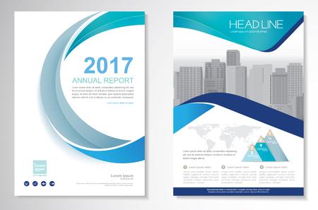 Vorlage Vektor-Design für Broschüre, Jahresbericht, Magazin, Poster, Firmenpräsentation, Portfolio, Flyer, Layout modern mit grün und blau Farbe Größe A4, vorne und hinten, einfach zu bedienen und zu bearbeiten.