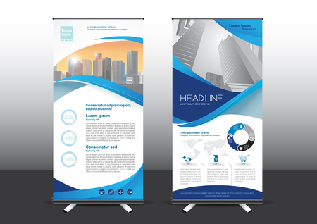 designed: Roll Up template illustration, Designed for style applied to the expo. Publicity banners, business model, vertical blue  tones they use.