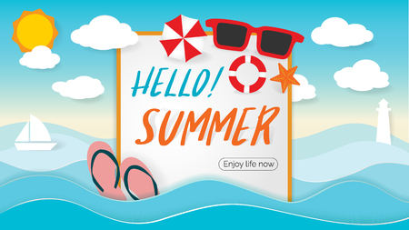 Summer Beach Party Design with template on ocean landscape background. Flat vector web banner on the theme of travel