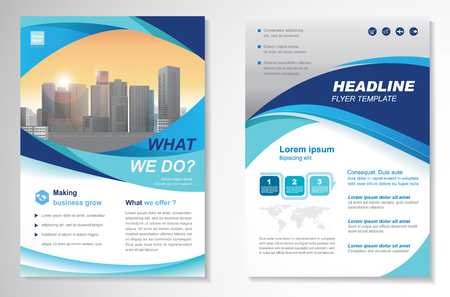 size: Template vector design for Brochure, Annual Report, Magazine, Poster, Corporate Presentation, Portfolio, Flyer, layout modern with  blue color size A4, Front and back, Easy to use and edit.