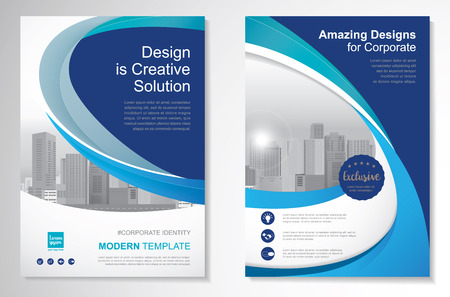 magazine design: Template vector design for Brochure, Annual Report, Magazine, Poster, Corporate Presentation, Portfolio, Flyer, layout modern with  blue color size A4, Front and back, Easy to use and edit.
