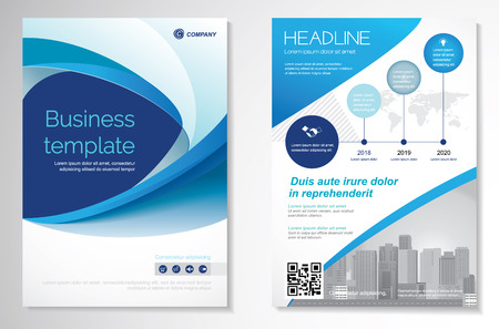Template vector design for modern layout  with  blue color size A4
