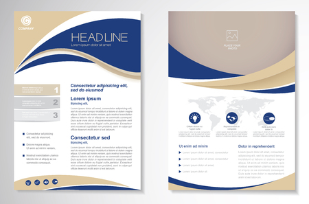 Modèle de conception de vecteur pour Brochure, Rapport annuel, Magazine, Affiche, Présentation de l'entreprise, Portfolio, Flyer, mise en page moderne avec la taille de couleur verte et bleue A4, Avant et arrière, design de luxe