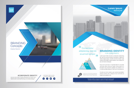 Template vector design for Brochure, Annual Report, Magazine, Poster, Corporate Presentation, Portfolio, infographic, layout modern with blue color size A4, Front and back, Easy to use and edit.