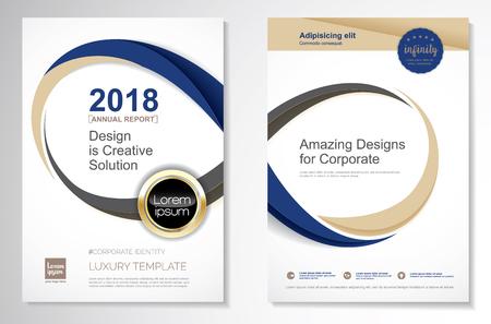 Projekt szablonu wektorowego dla broszury, raportu rocznego, magazynu, plakatu, prezentacji korporacyjnej, portfela, ulotki, układu luksusowego w kolorze niebieskim i złotym w rozmiarze A4, przód i tył, łatwa w użyciu i edycji koncepcja nieskończoności.