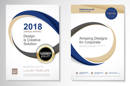 Template vector design for brochure, annual report, magazine, poster, corporate presentation, portfolio, flyer, layout luxury with blue and gold color size A4, front and back, easy to use and edit infinity concept. 免版税图像 - 95013284