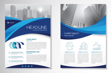 Template vector design layout modern with blue color size A4, Front and back, Vector illustration.