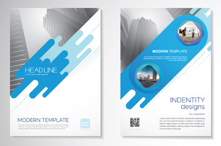 Template vector design for Brochure, AnnualReport, Magazine, Poster, Corporate Presentation, Portfolio, Flyer, infographic, layout modern with blue color size A4, Front and back, Easy to use and edit. Çizim