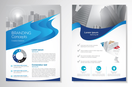 Template vector design for Brochure, AnnualReport, Magazine, Poster, Corporate Presentation, Portfolio, Flyer, infographic, layout modern with blue color size A4, Front and back, Easy to use and edit. Иллюстрация