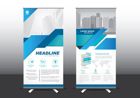Roll Up template vector illustration, Designed for style applied to the expo. Publicity banners, business model, vertical blue and green tones they use. 矢量图像