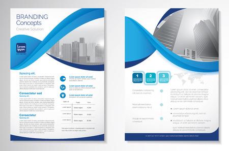 Diseño de vectores de plantilla para folleto, informe anual, revista, cartel, presentación corporativa, cartera, volante, diseño de lujo con color azul y azul tamaño A4, anverso y reverso, concepto Infinity fácil de usar