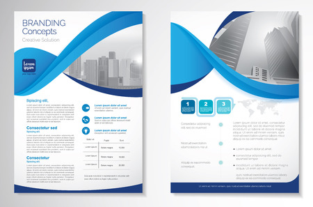 Template vector design for Brochure, Annual Report, Magazine, Poster, Corporate Presentation, Portfolio, Flyer, layout luxury with blue and blue color size A4, Front and back, Easy to use Infinity Concept 版權商用圖片 - 111636128