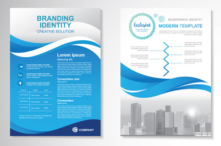 Template vector design for Brochure, AnnualReport, Magazine, Poster, Corporate Presentation, Portfolio, Flyer, infographic, layout modern with blue color size A4, Front and back, Easy to use and edit. Ilustração Vetorial