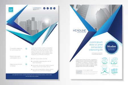 Szablon projektu wektorowego dla broszury, raportu rocznego, czasopisma, plakatu, prezentacji korporacyjnej, portfolio, ulotki, infografiki, nowoczesny układ z niebieskim kolorem w rozmiarze A4, przód i tył, łatwy w użyciu i edycji.