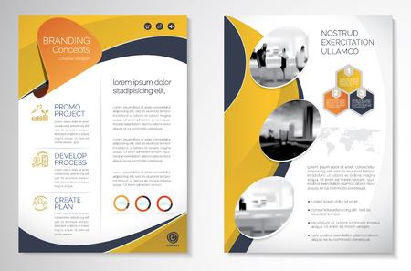 Vorlagenvektordesign für Broschüre, Jahresbericht, Magazin, Poster, Unternehmenspräsentation, Portfolio, Flyer, Infografik, modernes Layout mit gelber Farbe Größe A4, Vorder- und Rückseite, Einfach zu verwenden und zu bearbeiten.