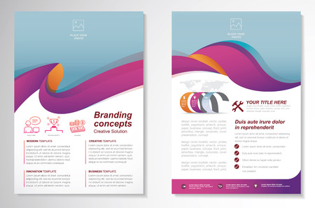 Template vector design for Brochure, AnnualReport, Magazine, Poster, Corporate Presentation, Portfolio, Flyer, infographic, layout modern with colorful size A4, Front and back, Easy to use and edit. Çizim