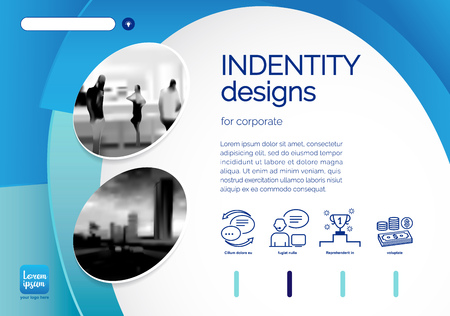 Template vector design for Brochure, Annual Report, Web design  Poster, Corporate Presentation, Flyer, layout modern with blue color size horizontal, Easy to use and edit. Çizim