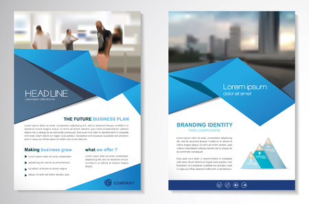 Template vector design for Brochure, AnnualReport, Magazine, Poster, Corporate Presentation, Portfolio, Flyer, infographic, layout modern with blue color size A4, Front and back, Easy to use and edit. Foto de archivo - 123249995