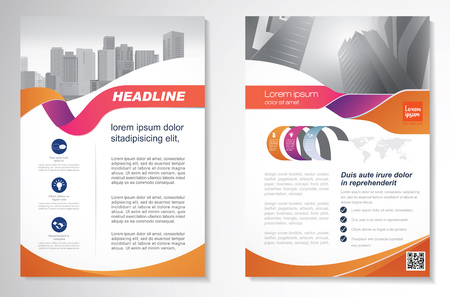 Template vector design for Brochure, AnnualReport, Magazine, Poster, Corporate Presentation, Portfolio, Flyer, infographic, layout modern with Orange color size A4