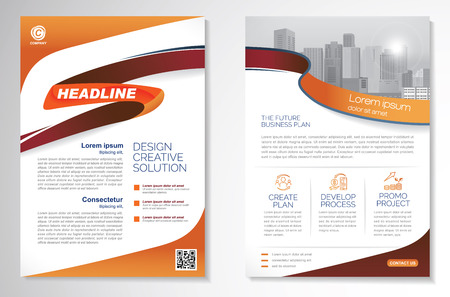 Template vector design for Brochure, AnnualReport, Magazine, Poster, Corporate Presentation, Portfolio, Flyer, infographic, layout modern with Orange color size A4.