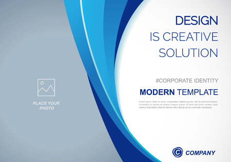 Template vector design for Brochure, Annual Report, Web design Poster, Corporate Presentation, Flyer, layout modern with blue color size horizontal