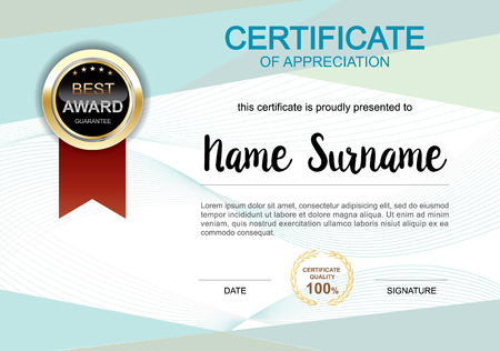 Certificate template clean and modern for diploma, official or different awards Vector illustration.