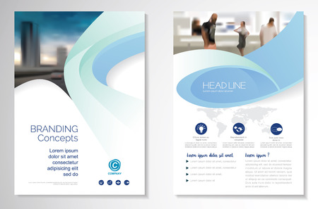 Template vector design for Brochure, AnnualReport, Magazine, Poster, Corporate Presentation, Portfolio, Flyer, infographic, layout modern with blue color size A4, Front and back Çizim