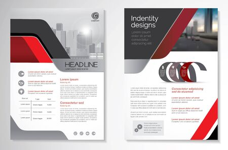 Template vector design for Brochure, AnnualReport, Magazine, Poster, Corporate Presentation, Portfolio, Flyer, infographic, layout modern with red color size A4, Front and back, Easy to use and edit. Çizim
