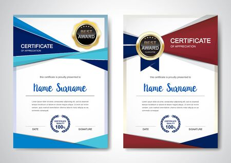 Certificate template clean and modern for diploma, official or different awards Vector illustration