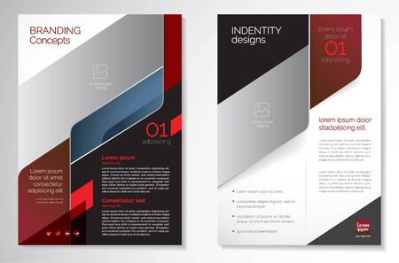Template vector design for Brochure, AnnualReport, Magazine, Poster, Corporate Presentation, Portfolio, Flyer, infographic, layout modern with red color size A4, Front and back, Easy to use and edit. Stock Illustratie