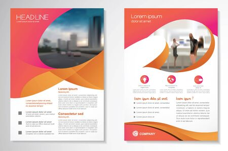 Template vector design for Brochure, AnnualReport, Magazine, Poster, Corporate Presentation, Portfolio, Flyer, infographic, layout modern with colorful size A4, Front and back, Easy to use and edit. Stock Illustratie